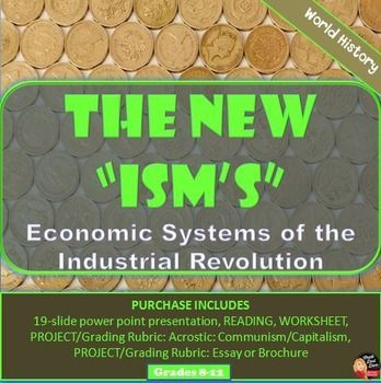 """The """"New Ism's"""" Activity – Economic Systems of the Industrial Revolution In this creative and fun activity students will learn about the different economic systems that developed during the Industrial Revolution: Capitalism, Utilitarianism, Socialism and Communism. The teacher begins by taking a poll of the class about what the students would do if they had all the apples in the world. Their answers correlate with one of the economic systems they will study."""