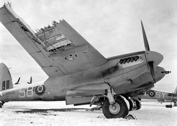 The incomparable De Havilland Mosquito was famously made of wood - very obvious in this 1944 photo of a damaged example.