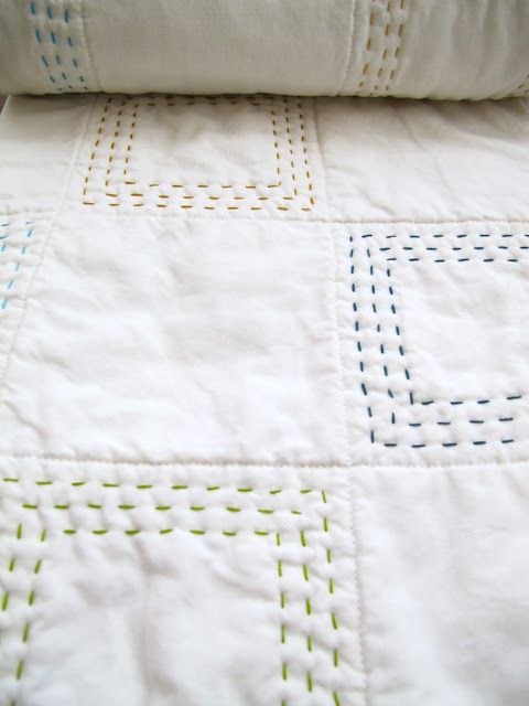 This baby-sized project is a whole cloth quilt, meaning that there are no pieced elements-- just one piece of Kona Snow for the front, ...