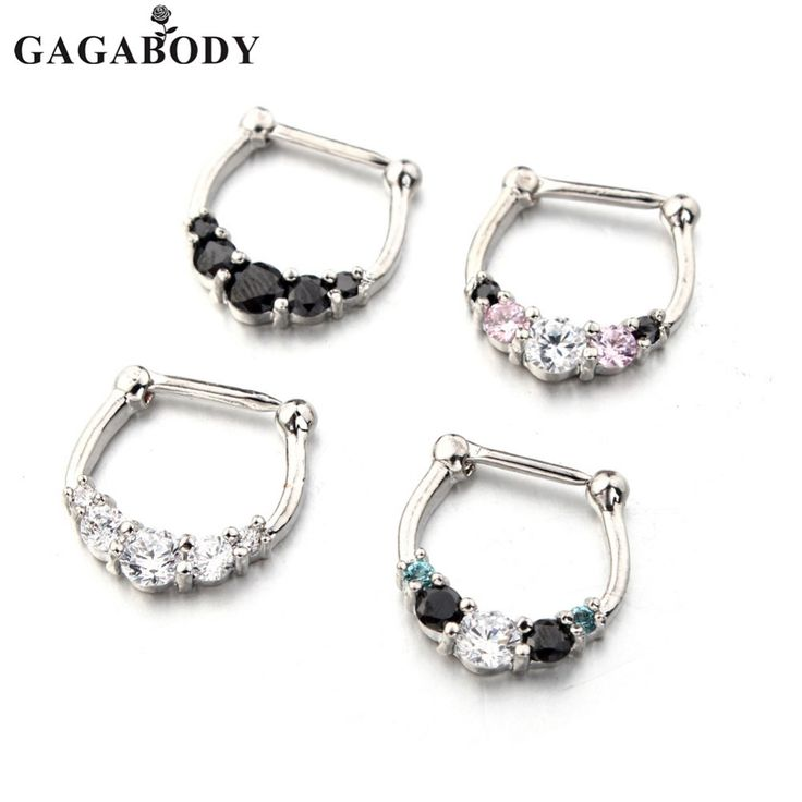 Christmas GAGA 20Pcs/lot Clear Five-Gemmed Nose Rings 316L Surgical Steel Septum Clicker 16G