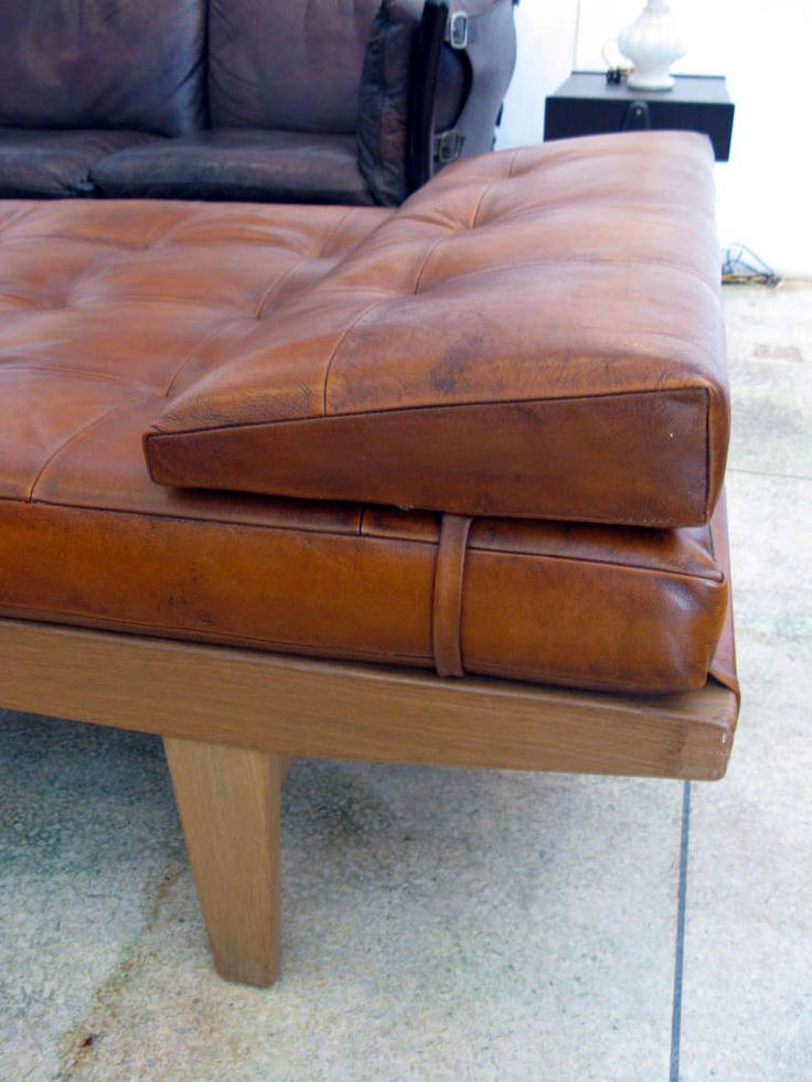 Poul Volther Wood & Aged Leather Daybed | From a unique collection of antique and modern day beds at http://www.1stdibs.com/furniture/seating/day-beds/