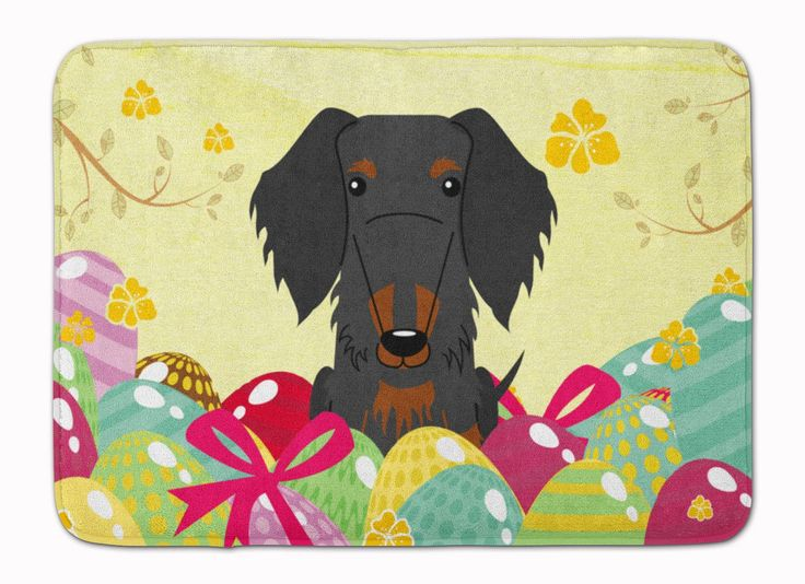 Easter Eggs Wire Haired Dachshund Black Tan Machine Washable Memory Foam Mat BB6127RUG
