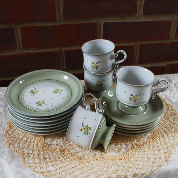Vintage Denby teaset Verona floral pattern pattern in green
