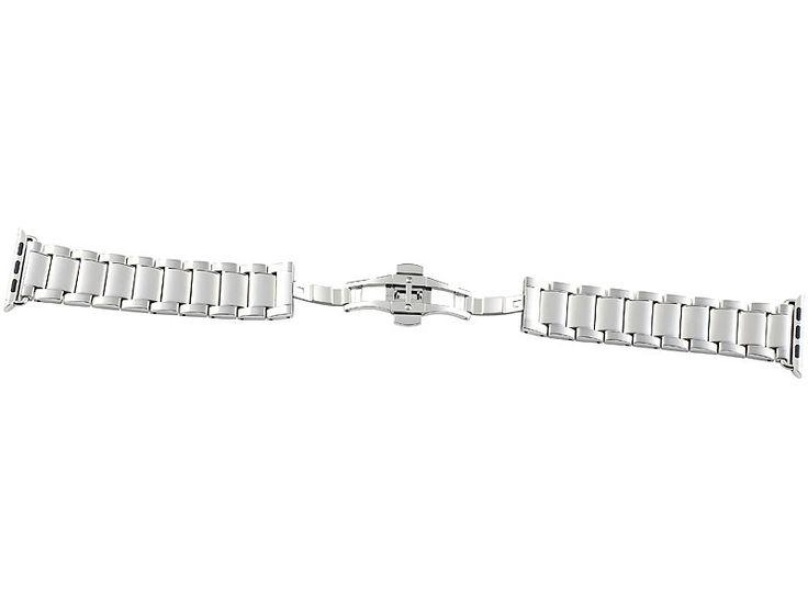 Callstel Glieder-Armband für Apple Watch 42 mm, Edelstahl, silbern