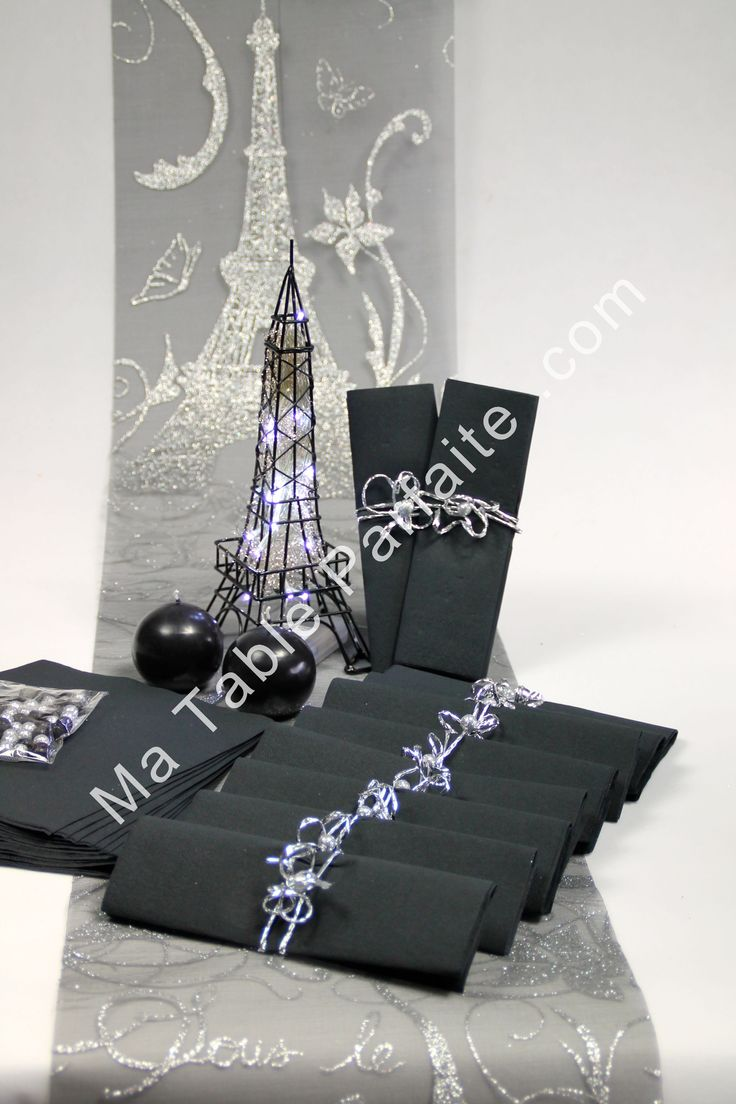 Box deco de table noir et argent livr e pr te poser - Deco table nouvel an ...