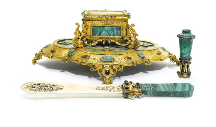 A MATCHED JEWELLED MALACHITE DESK SET WITH SILVER-GILT AND METAL MOUNTS, LONDON, CIRCA 1850