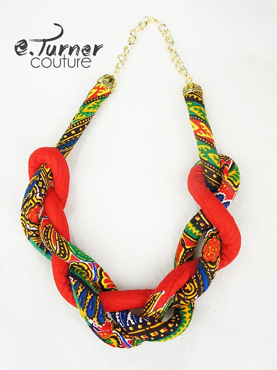 www.cewax.fr aime ce collier plastron multi rang style ethnique tendance tribale tissu africain wax Red Chunky Rope Necklace - Ethnic Rope Necklace - African Necklace - red, green, blue, yellow & black