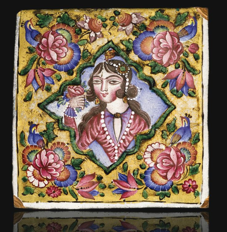 A Qajar gold and polychrome enamelled plaque with portrait of a maiden, Persia, 19th century | Lot | Sotheby's