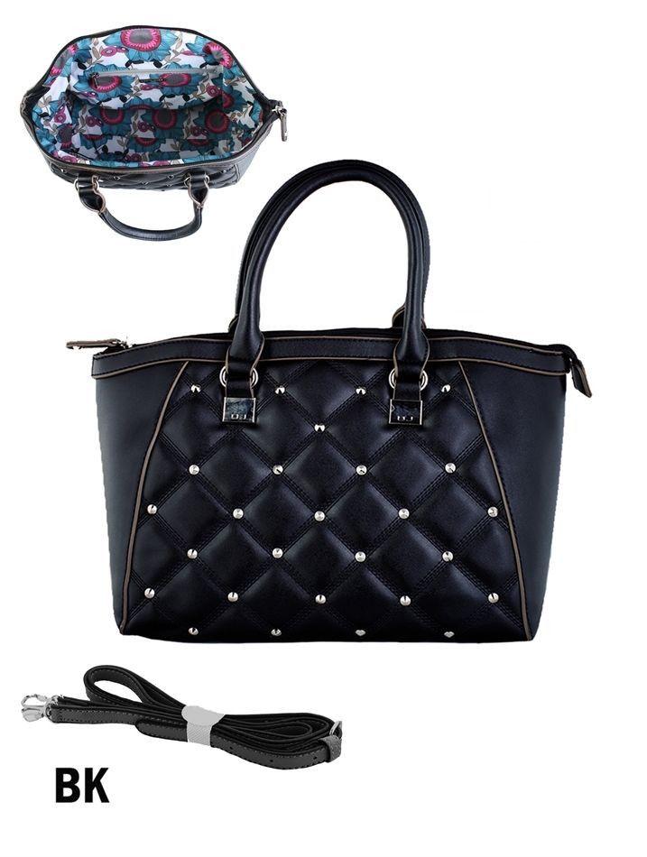 Black Quilted Tote Handbag