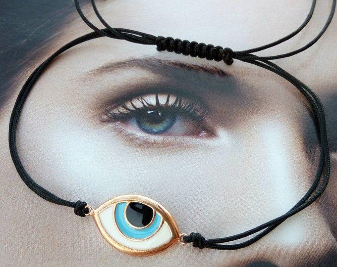 Evil eye enamel macrame bracelet, evil eye rose gold plated silver 925 enamel macrame bracelet, eye macrame bracelet, gift, gift for her
