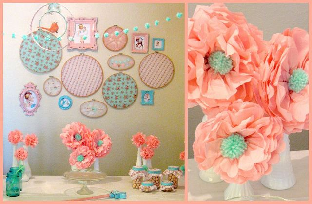 vintage inspired decorVintage Pink, Vintage Party, Paper Flowers, Colors Schemes, Vintage Parties, Parties Ideas, Aqua, Embroidery Hoops, Pom Pom