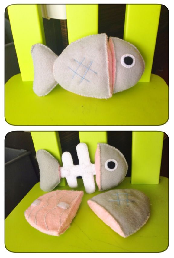 "DIY felt fish with removable fillets. Fish ""bones"" make with popsicle sticks and embroidered details on the fillets. Own pattern."