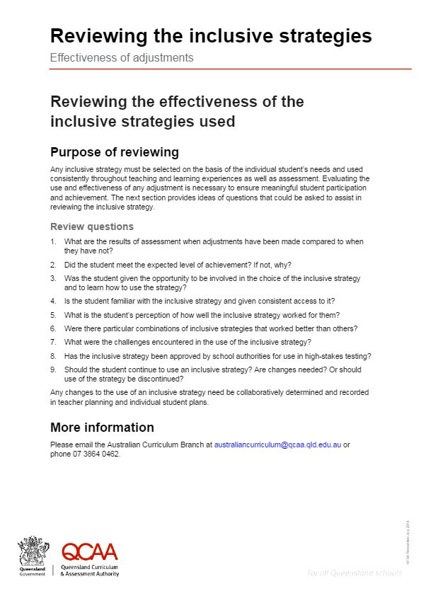 Reviewing the inclusive strategies Effectiveness of adjustments