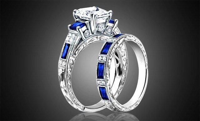 White Gold Blue Spinel gemstone and Emerald Cut White Sapphire Ring
