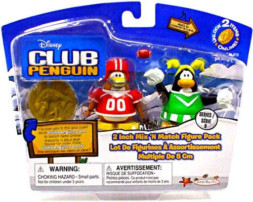 Disney Club Penguin Series 9 Mix N Match Mini Figure Pack Football Player Cheerleader Includes Coin with Code * For more information, visit image link.Note:It is affiliate link to Amazon.