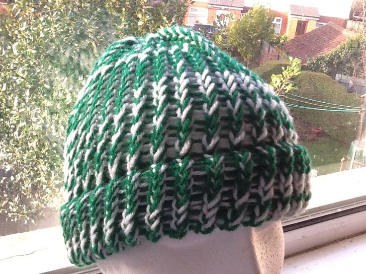 Green and White Hat, Green Beanie Hat, White Beanie Hat, Woolly Green Hat, Woolly Green Beanie, Unisex Beanie Hat, Hat for Him or Her
