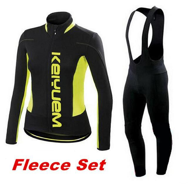 New Brand Women's Lycra Breathable Winter Thermal Cycling Clothing Sets Long Sleeve Cycling Jersey Bib Set Cheap Cycling Jerseys