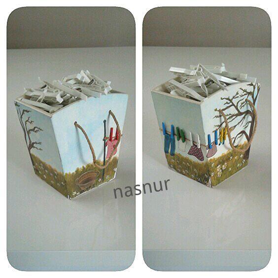 mandal kutusu ahşap boyama  clothespeg box painting handmade