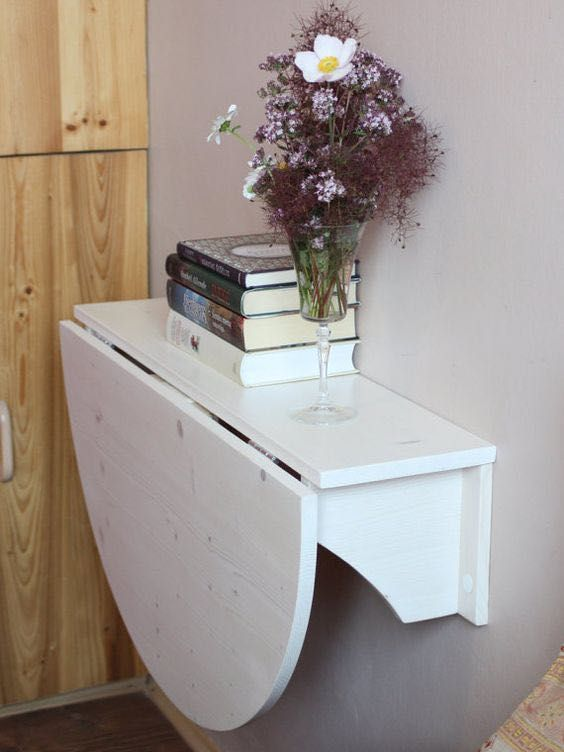 Shelf drop leaf table purple flowers DIY Tiny Home Decorating On A Tiny Budget