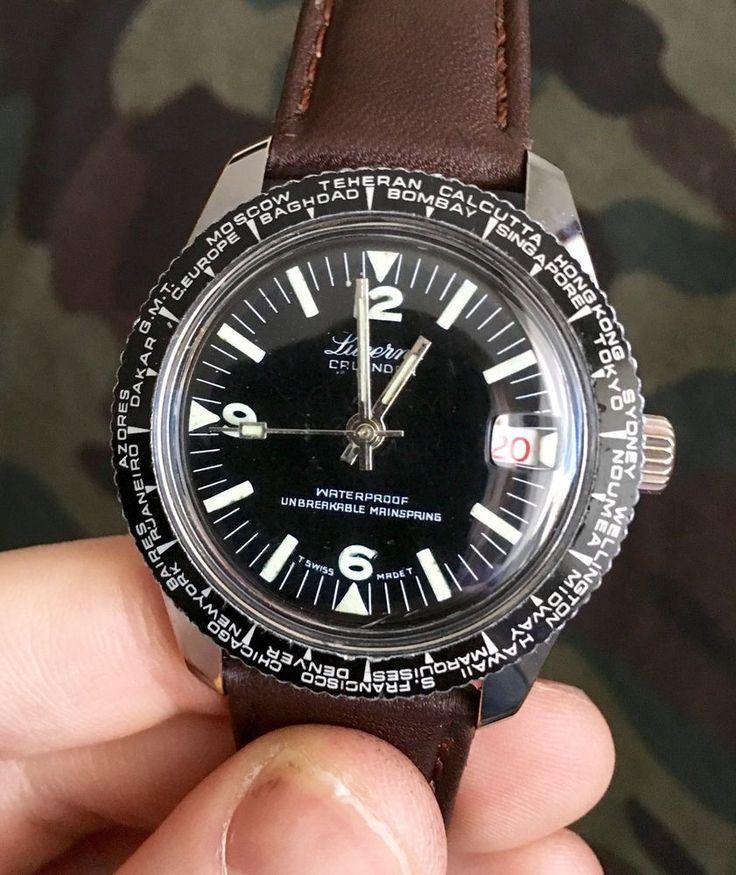 Lucerne World Time GMT Calendar Dive Watch Vintage | World ...