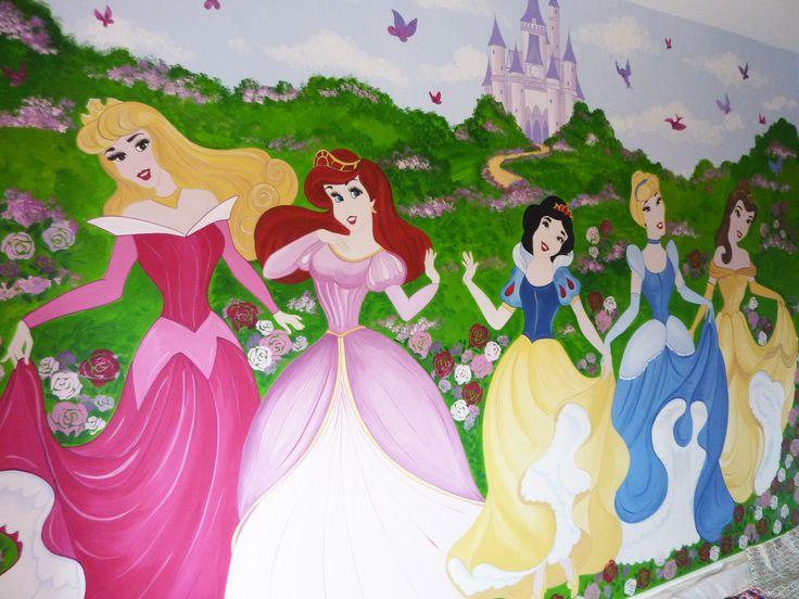 Hand painted wall mural of disney princesses and castle for Disney princess mural asda