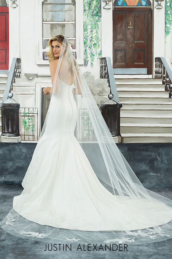 49fea9ecdd0d Clean satin sweetheart fit and flare wedding dress. | Justin Alexander: New  Clean in 2019 | Dresses, Fit, flare wedding dress, Wedding dresses