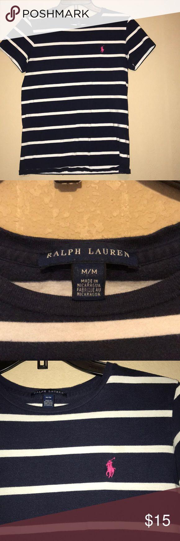 Ralph Lauren shirt Navy blue & white striped tee is a size medium with a pink horse. Looks brand new Ralph Lauren Tops Tees - Short Sleeve