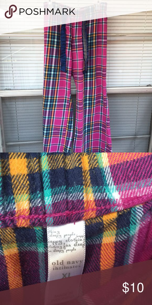 Cute plaid flannel pajama pants Cute pajama pants in great condition, Sz XL. Thick ribbon ties that have some sparkle to them! Adorable! Old Navy Intimates & Sleepwear Pajamas