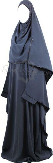 Satin Trimmed Full Butterfly Abaya (Steel Blue)