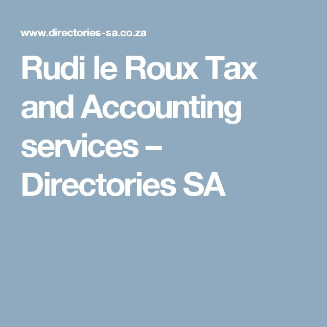 Rudi le Roux Tax and Accounting services – Directories SA