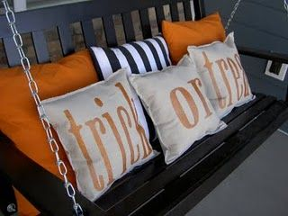 Cute: Holiday, Porch Swings, Halloween Fall, Front Porch Swing, Halloween Pillows, Fall Halloween, Trick Or Treat, Treat Pillows, Glitter Blast