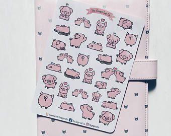 Schattig varkens Planner Stickers | Planner Stickers Journal Stickers, Scrapbook, kogel Journal, BUJO Stickers, kogel Journal Stickers