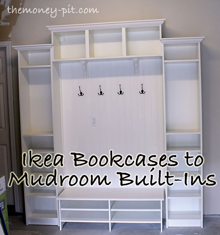 2 Ikea Billy Bookcases, an Ikea Billy Wall Shelf, an Ikea Smadal TV Stand, some plank style beadboard, some quarter round trim and some crown molding - cost breakdown: Bookcases: $190 Beadboard: $20 Outlet/Switchplate: $3 Paint: $10 Wall mounting hardware: $3 Quarter Round: $15 Crown: $30 Corbels: $20 Hooks: $18 Total Cost: $309! Not bad, not bad at all!