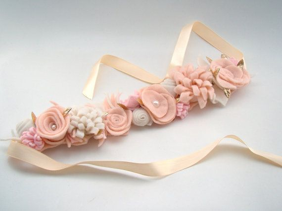 Ligh Pink, Nude and Cream Felt  Flower Crown Flower Girl Tiara Headband Baby Flower Crown Wedding Floral Crown Head Wreath Flower Girl
