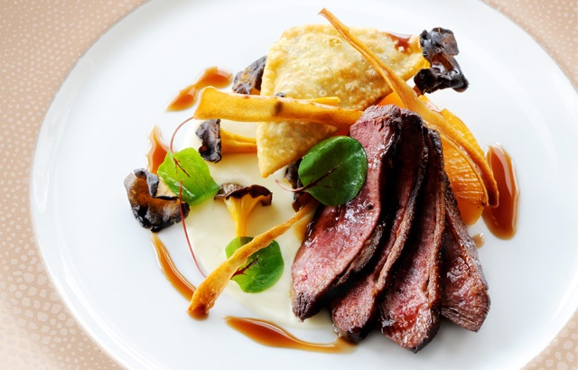Pan roasted breast of mallard with a samosa of braised leg, salt-baked ...