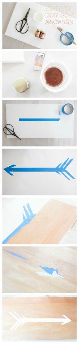 DIY Golden Arrow Painting - Rustic Wedding Chic