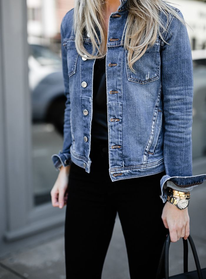 Jean Jackets How To Style Your Denim Jacket With Black Jeans For Spring Jean Jacket Outfits Jean Jacket Women Blue Jean Jacket Outfits