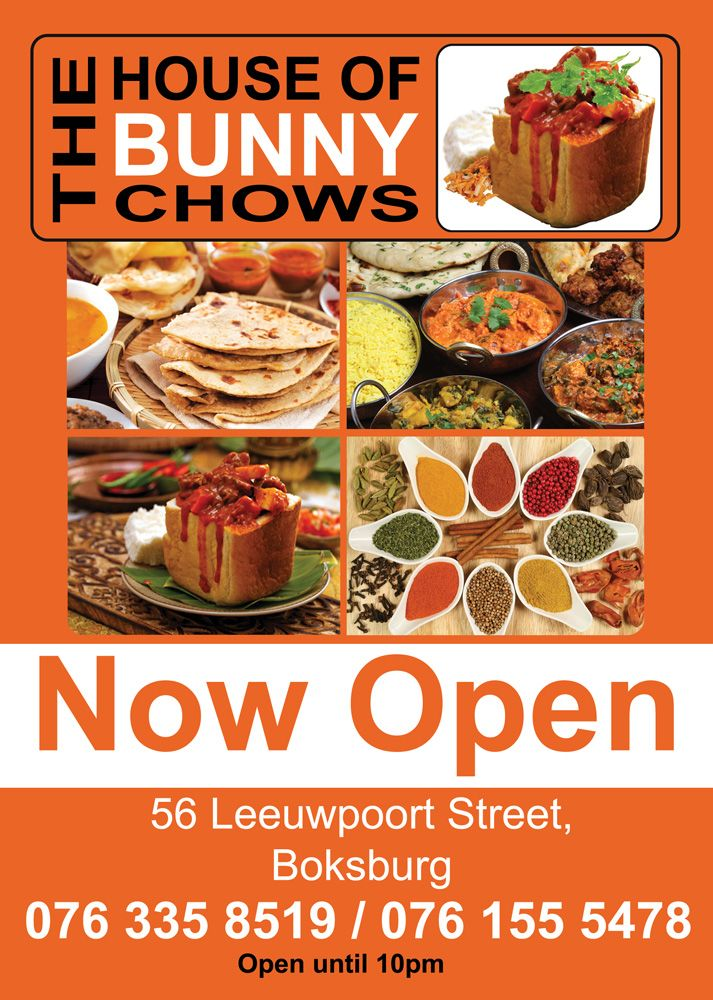 The House of Bunny Chows in Boksburg is now open and serving Bunny Chows, Rotis, and Samosas. Come experience the Fast & the Filling!