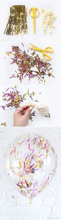 my-big-fat-wedding-kitsch:  Confetti Balloon Tutorial  Make sure to buy balloons that don't have any sort of powder inside them; the powder will inhibit the static charge.