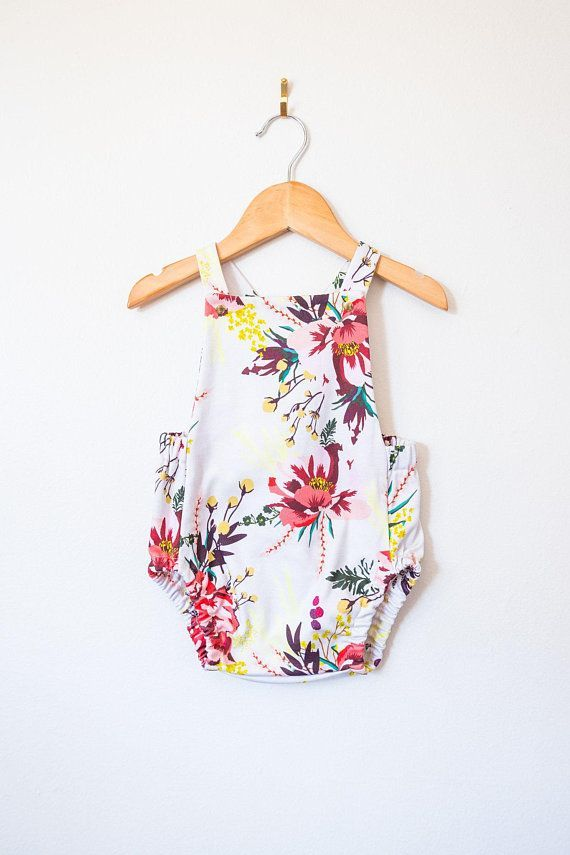 5f8003aa274 boho baby romper    floral baby clothes    toddler playsuit    organic  girls clothes    poppy romper    summer baby clothes    cross back