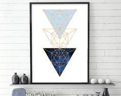 Arte PARED geométrica, cartel geométrica, impresión moderna, escandinavo escandinavo, arte escandinavo, arte de anticuados, azul añil, oro color de rosa, arte