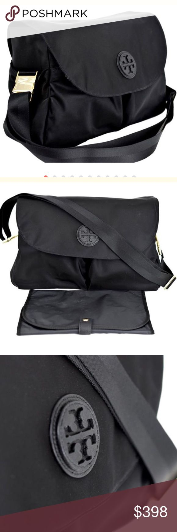 NWT Tory Burch Nylon Messenger Diaper bag New with tags!  Tory Burch Nylon Messenger Diaper bag    Brand new beautiful Tory Burch black nylon messenger baby bag.     The body of this bag is an easy to clean black nylon material while the finishings are a classy gold!     Leather tory logo in the front.   Two exterior pockets along with two exterior bottle pockets.   Multiple interior pockets including an additional two bottle pockets.  Diaper changing pad included.    Will ship right away…