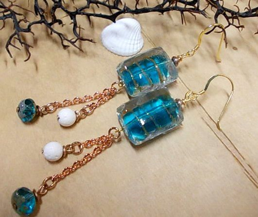 Summer earrings...glass lampwork beads, chain & corals