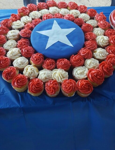 Captain America birthday cake - Visit to grab an amazing super hero shirt now on sale!