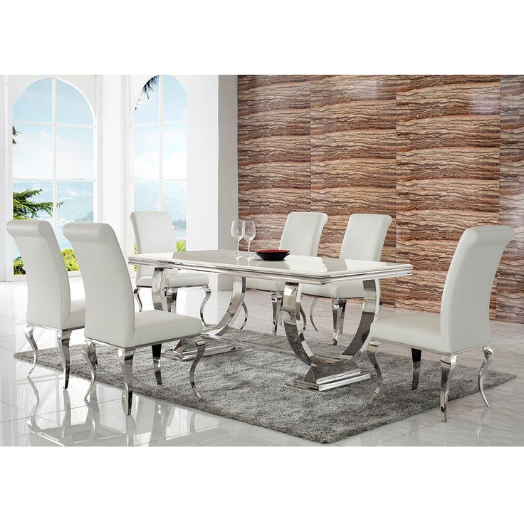 Great Bellini San Cristobal 7 Piece Dining Set In Polished Stainless Steel U0026  White Leatherette