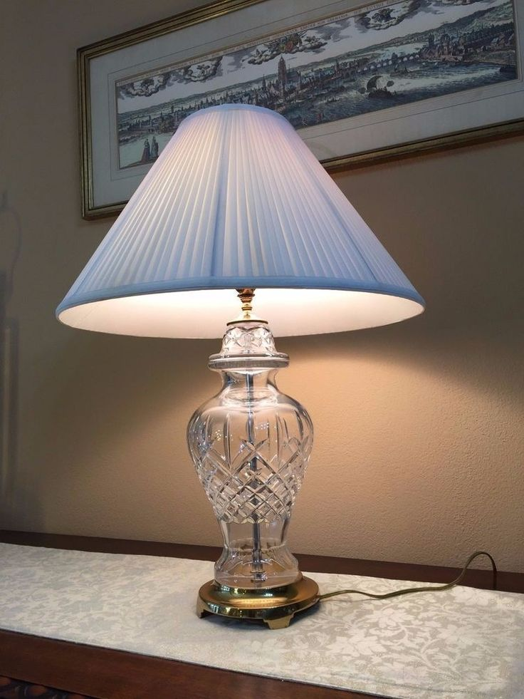 Waterford Crystal Lismore Pattern Table Lamp W Original Shade 26 1 2