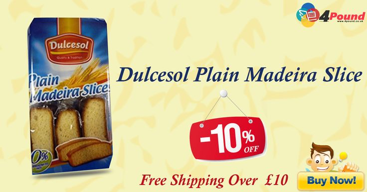 Buy Dulcesol Plain Madeira Slice for £2.27. Get it for 10% OFF with Free Shipping. Apply coupon code as 4pound10. Product Description : Dulcesol Plain Madeira Slices. 0% Hidrogenated Fats. 370 grams.  http://www.4pound.co.uk/dulcesol-plain-madeira-slice
