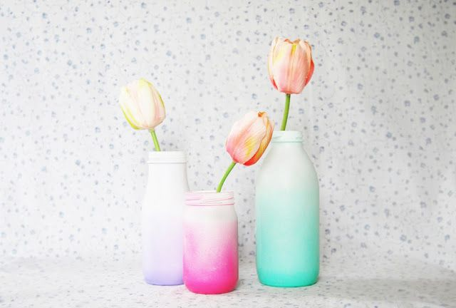 Spray Painted Ombre Glass Bottles