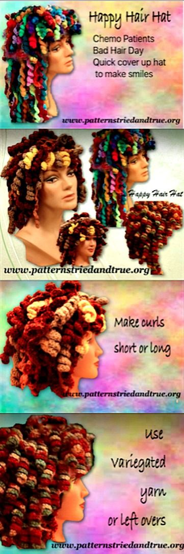 Make happy hair in any color you wish and have so much fun with it: Crochet this hat as welcomed cover-up hat for chemo patients, for your bad hair day, or just a fun hat.
