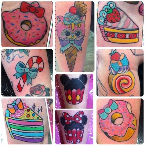 The candy cane, hello kitty doughnut,and the cake-roll on my left side of my ribcage, and in a straight line going downwards
